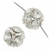 Rhinestone Bead 12mm Round Silver/Crystal